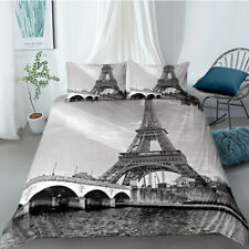 3D Nostalgic Eiffel Tower Duvet Cover Queen Bedding Comforter Cover PillowCase