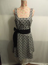 NEW WITH TAGS BLACK & WHITE PATTERN DRESS WITH BLACK TIE-BELT BOW - OOAK