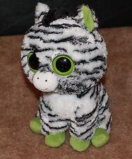 """9"""" Ty  ZIG ZAG Beanie Boos Plush ZEBRA Green Eyes & Feet 2013"""