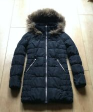 Ladies H&M Divided Black Padded Coat with Faux Fur Lined Hood Size 8 Girls Women