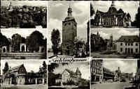 Recklinghausen s/w Mehrbild AK ~1950/60 Stadtgarten Markt Rathaus Lohtor Saalbau