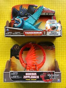 HOW TO TRAIN YOUR DRAGON LOT HIDEOUS ZIPPLEBACK & BLUE THUNDERDRUM LARGE DRAGONS