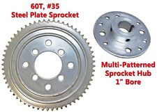 "60T #35 Chain Steel Plate Sprocket w/ Hub 1"" Bore Racing Go-Kart Gear Fun Cart"