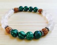 Tibet silver Buddhism Spirituality Unisex 8mm Natural malachite crystal bracelet