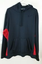 Nike Men's Black & Red Therma-fit Pullover Hoodie Lightweight size XL