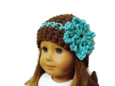 """Crochet Hat Fits American Girl Dolls 18"""" Doll Clothes Brown with Aqua Flower"""