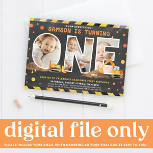 Construction Themed 1st Birthday Photo Invitation, Digger Truck Digital Invite