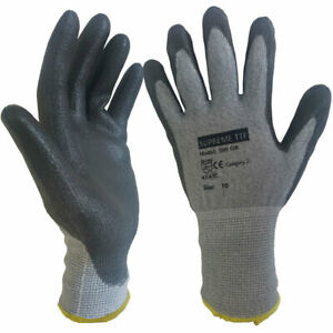 10 Pairs PU Anti Cut Resistant Work Safety Gloves Builders Protection Level C