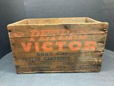 Vintage Peters Victor 16 Gauge Shotgun Shell Dupont Remington wood crate box