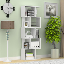 Tall Bookshelf Bookcase Shelving Unit Corner 5 Shelf Cube Storage Display White