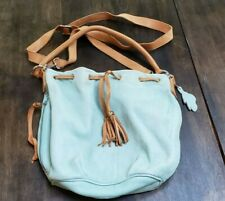 Roots leather bucket bag, rare mint green with side zip pocket, crossbody+handle