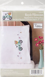 """Tobin Stamped For Embroidery Pillowcase Pair 20""""X30""""-Bicycle, T232178"""