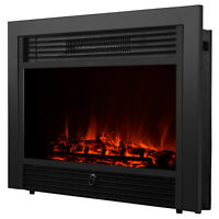 "Embedded 28.5"" Electric Fireplace Insert Heater Log Flame with Remote Control"