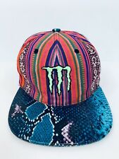 Monster Energy Blue Snakeskin Bill Snapback Hat Rasta Nexgen Rare