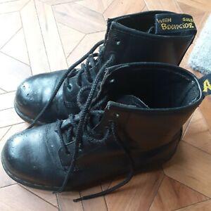 Mens Sz 8 Dr Martens Industrial Steel Toe Cap Black Leather Boots DM's see Pics