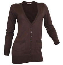 Strickjacke Taschen Gr 32 34 dunkelbraun V-Neck Cardigan Jacke langarm