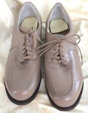Vintage Oxford Shoes Tan Leather Lace Up Round Toe Style 8.5Ee New Old Stock