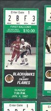 1987 01/04 ticket stub Calgary Flames v Chicago Blackhawks Chicago Stadium