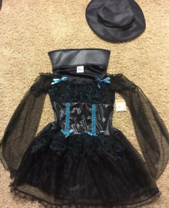 Girl's Target Black / Blue Glitter Witch Halloween Costume / Hat ~ Size Large