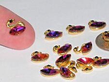 2pc Miniature beads TINY little Golden Crystal SWANS charm flat back animal NEW*