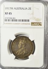 1917 M Australia Silver Florin Two Shilling Coin Rare XF45 NGC
