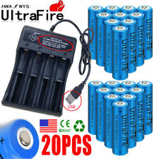 Lot 20X UltraFire 18650 Batteries 3.7V Li-ion Rechargeable Battery Chargers USA