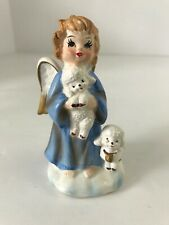 Vintage Ceramic Christmas Angel With Two White Sheep #723 Excellent Condition