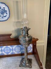 """Embossed """"The Rochester"""" Nickel Finish Oil Kerosene Tall Banquet Lamp"""