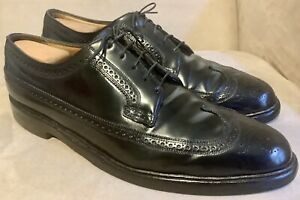 Florsheim Imperial SHELL CORDOVAN 12 black LONG WING wingtip HORWEEN dress shoes