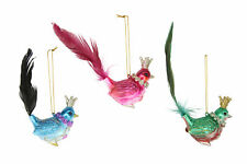3 Assorted Gisela Graham Hanging Bird Decoration w/ Crown Fairy Tales Tea Party