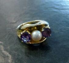Amethystring 585er Gold Ring Amethyst und Perle 14 Karat GG Goldring Gr. 55