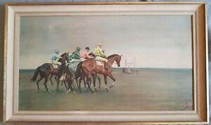 "SIR ALFRED MUNNINGS ""October Meeting"" horse racing Lithograph C1957. VGC"