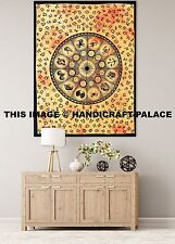 Indian Wall Celestial Sun & Moon Zodiac Print Yellow Poster Psychedelic Tapestry