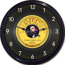Johnny Cash Folsom Prison Blues Record Wall Clock Retro Image of Vinyl 45 RPM