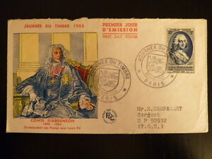 FRANCE PREMIER JOUR FDC YVERT 940   COMTE D ARGENSON   12+3F   PARIS   1953