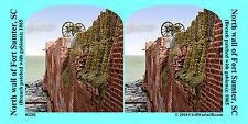 Fort Sumter Cannon Gabion Charleston Civil War SV Stereoview Stereocard 3D 02292
