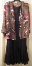 SECRET BLACK SLEEVELESS LAYERED RAYON DRESS+ FLORAL ¾ SLEEVE JACKET 2XL NWT