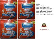 32 GILLETTE FUSION Razor Blades Cartridges Refills Shaver 100% Authentic 8*4 USA