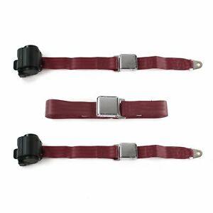 Nash Ambassador 1933-1957 Airplane 2pt BURG Bench Seat Belt Kit - 3 Belts