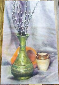 """Vintage Fraser Vases Still Life Charcoal Drawing 13.75"""" By 22"""" Pottery"""