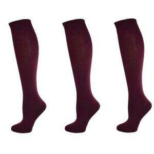 Girl's Socks School College Uniform Wear Plain Knee High Long Cotton 3 Pk. Socks