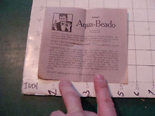 vintage paper: TRICK INSTRUCTIONS only; circa 1950's: ADAMS' AQUA-BEADO