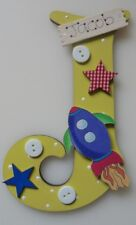 Rocket Personalised *ANY LETTER & NAME* children kids Room Door Sign Plaque yw