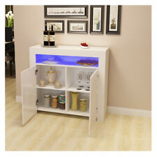 Modern White High Gloss Sideboard Side Table Storage Cabinet With RGB LED Light