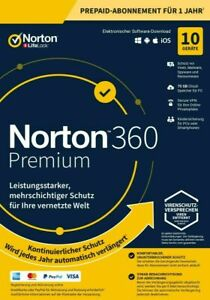 Norton 360 Premium 10 Gerät 10 PC 2021 Internet Security + VPN 2020 PC / MAC DE