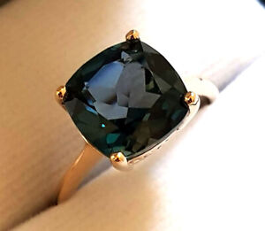 R224 Genuine 9ct or 18K Gold LARGE London Blue Topaz Ring Cushion Solitaire