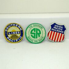 (3) Tin 1950s Post Cereal Mini RR Signs Southern Railroad Union Pacific Plus #1