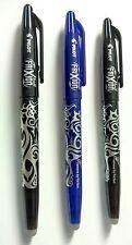 3 x pilot frixion stylos 2 noir & 1 bleu. eraserable roller ball pen...