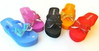 New Womens Bow Flip Flop Thong Sandals Wedge Platform Shoes Size 5 6 7 8 9 10