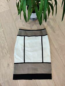 Karen Millen Cream, Black & Fawn Lined, Colour-Block Pencil Skirt, Size 10